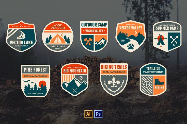Retro Camp Badges #design Buy Now: https://creativemarket.com/emberstudio/9040-Retro-Camp-Badges?u=ksioks