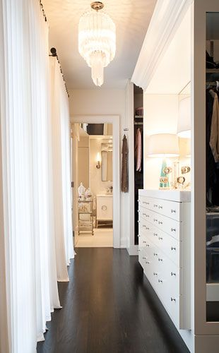 Walk through from hallway into main bedroom Create feature voiles over window across wall and build in units for shoes/handbags behind door