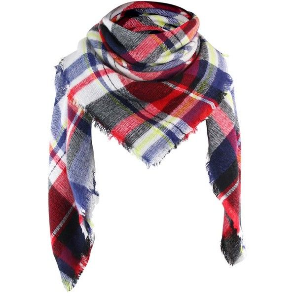 Navy Blue & Red Classic Plaid Print Square Scarf Wrap ($25) ❤ liked on Polyvore featuring accessories, scarves, lightweight, navy blue, plaid shawl, tartan scarves, plaid blanket scarf, fringe scarves and red plaid scarves