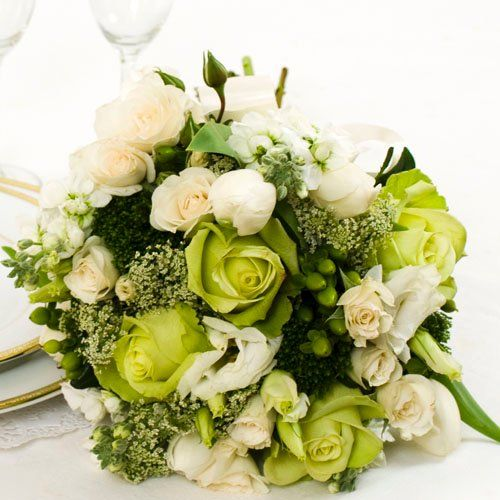 Green bouquet ideas....not sure how much i love the green roses, but do like the general idea