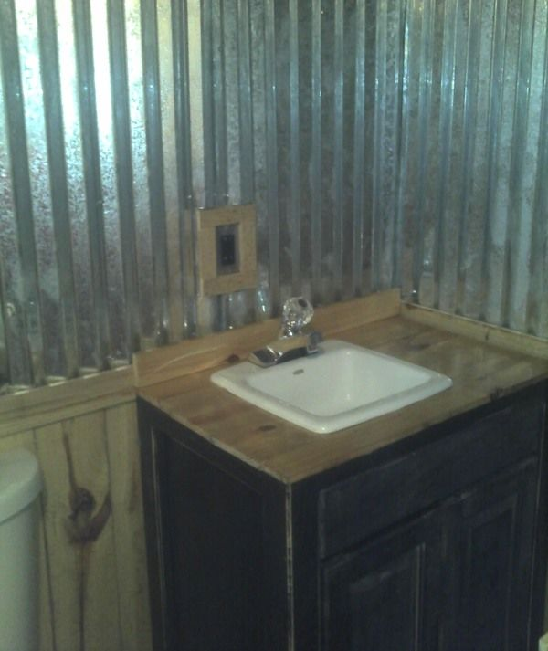 1000 ideas about barn tin wall on pinterest tin on for Shed bathroom designs