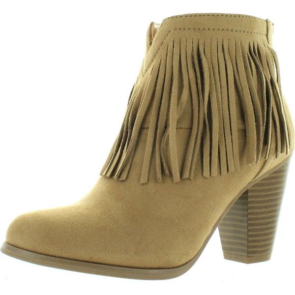 Soda Women's Agree Cowboy Fringe Faux Suede Closed Toe Stacked Heel... ($39) ❤ liked on Polyvore featuring shoes, boots, ankle booties, beige, fringe booties, short cowgirl boots, wide ankle boots, western ankle boots and wedge ankle boots