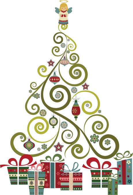 A Swirly, Curly Christmas Tree | Clip art and fonts ...
