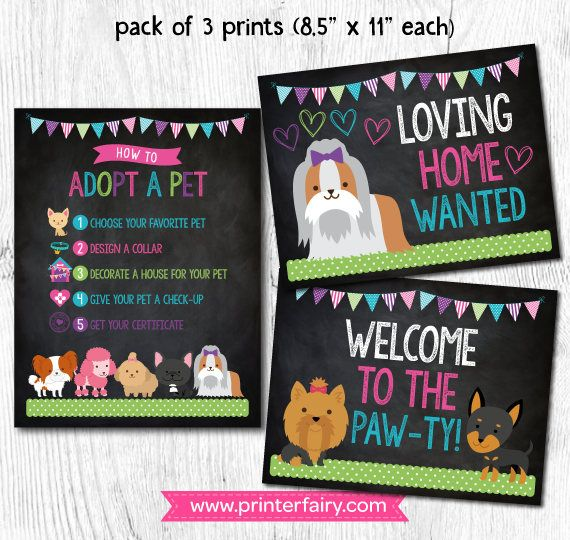 Puppy Birthday Party Pet Adoption Party Puppy printables