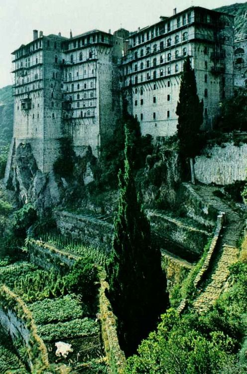 Simonos Petra monastery on Mount Athos, Greece. National Geographic | March 1980