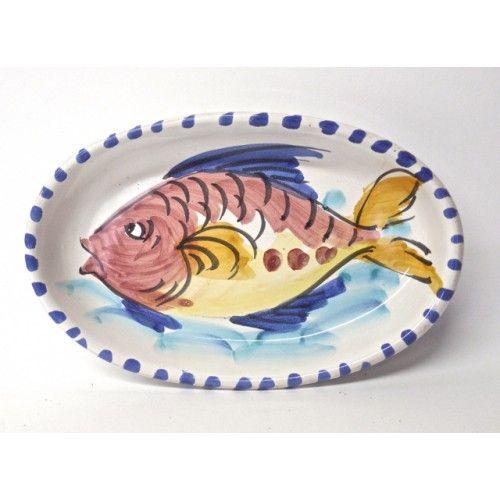"Sicilian Santo Stefano 8X5"" Oval Plate with fish"