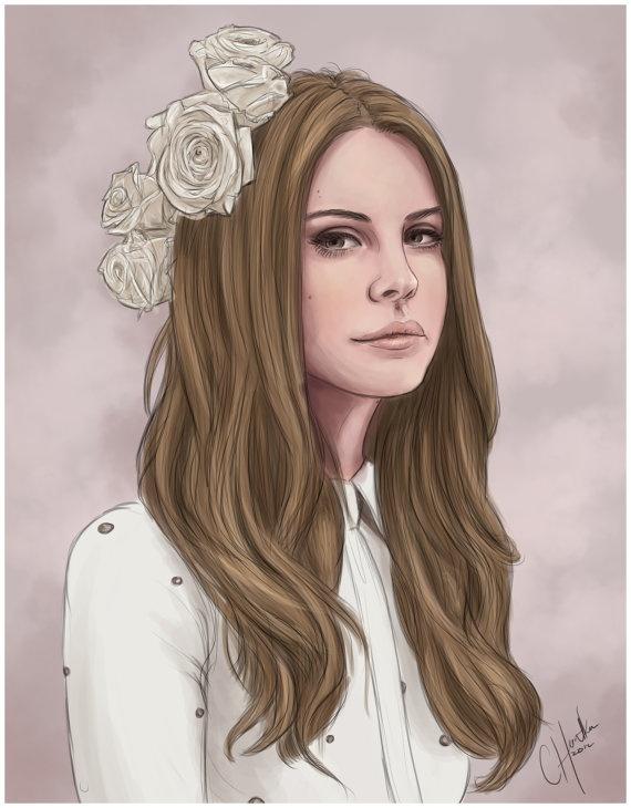 20x30 Chocolat' Cream Vintage Queen Lana Del Rey by