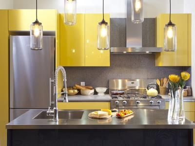 Love this kitchen from show Kitchen Cousins with lacquered cabinets.