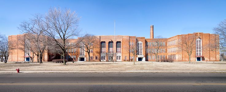 Pershing High School was one of three schools built to accommodate students in the rapidly growing northern sections of the city, Marshall Elementary and Nolan Intermediate being the other two. The site on Ryan Road and Seven Mile was acquired in February of 1929 and construction was started in November of that year.  The first unit of the school--the southern half of the structure--was opened for classes in the fall of 1930, with 1092 students enrolled. As the cafeteria was not yet built…