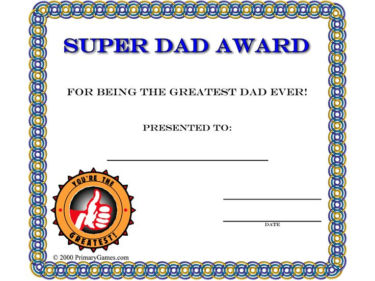 fathers day crafts super dad award certificate super