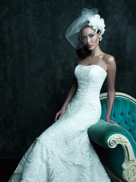 Allure Couture C243 Strapless Lace A-Line Wedding Dress