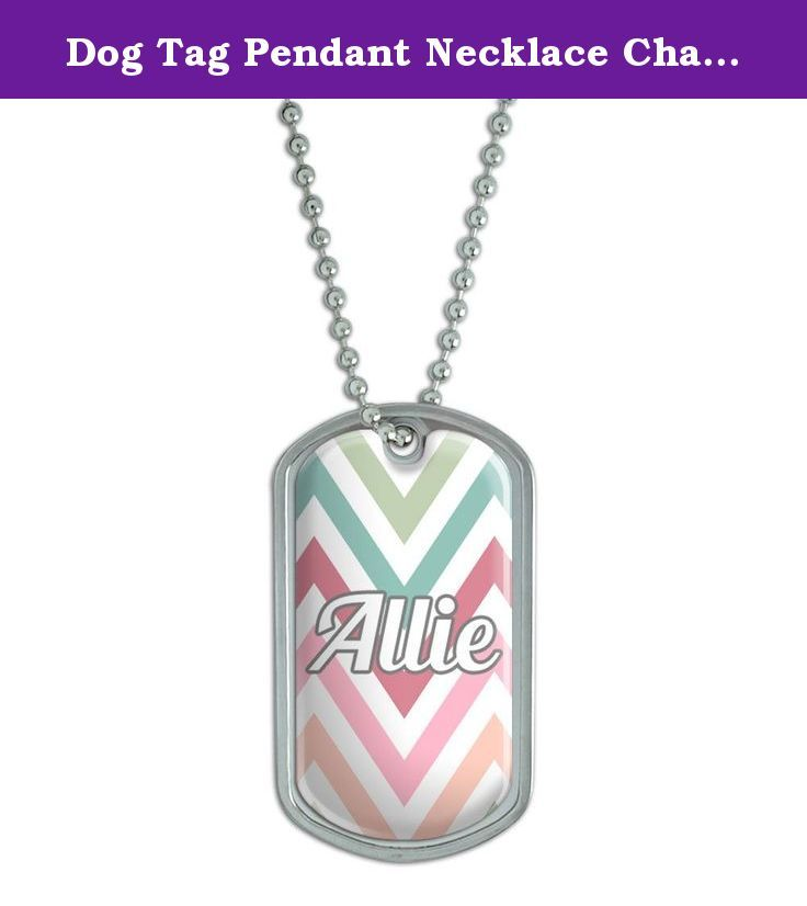 """Dog Tag Pendant Necklace Chain Names Female Al-Am - Allie. Our stainless steel dog tags feature a fun, urethane-encased printed graphic, as shown, expressing your unique interests and personality! Want to get even more personal? The backside is perfect for engraving. (Unfortunately, we do not offer engraving services; please check with your local engraving shop!) The tag comes with an adjustable 24"""" chain to complete the functional-but-fashionable look. Size: 2"""" x 1.1""""."""