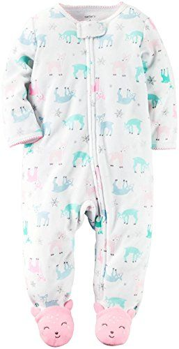 Carter's Baby Girls' Cotton Sleep and Play  Footed style  Nickel-free snaps on reinforced panel