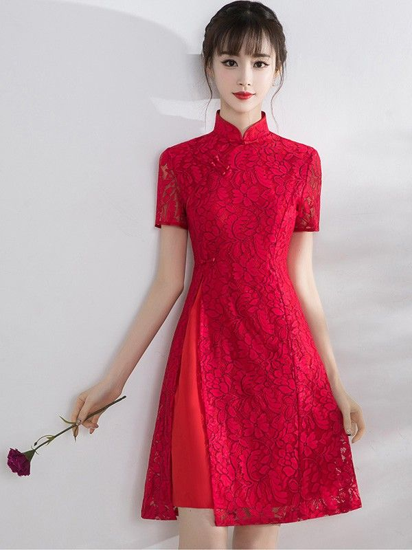 Rose Floral Lace Qipao / Cheongsam Dress with Split