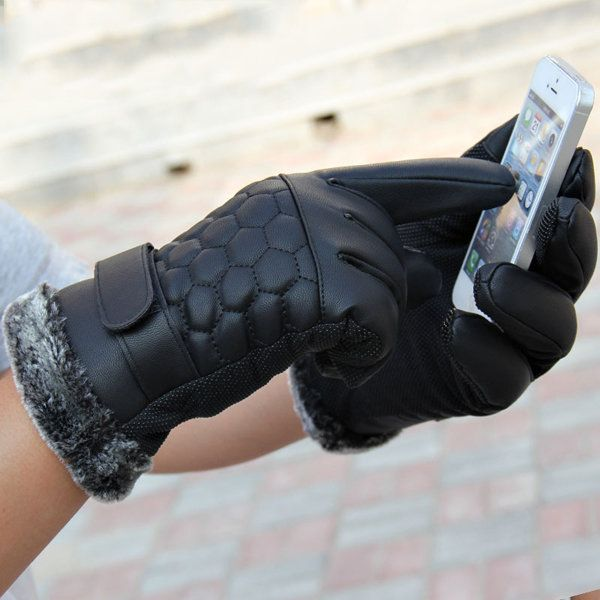 Men Male PU Leather Grid Driving Gloves Screen Touch Coral Fleece Linen Skidproof Windproof Mittens at Banggood