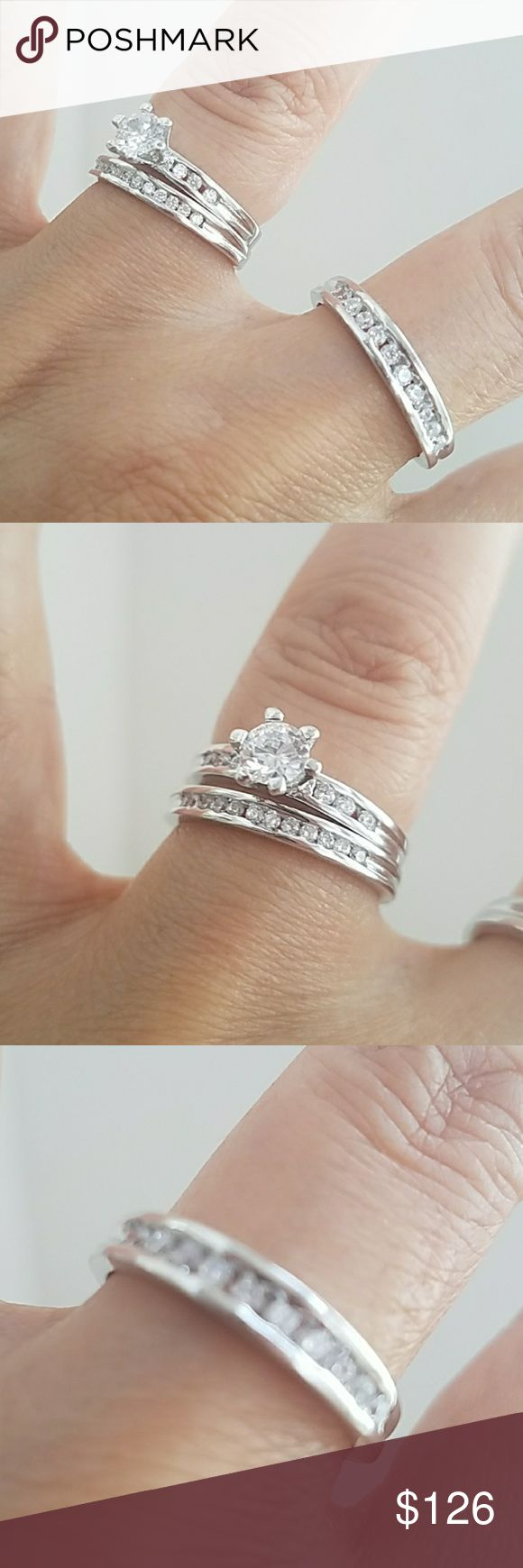 3pc set Engagement Ring wedding bands bridle Set 3pc set. Women's Engagement Ring with Wedding Band for Bride and Groom. 3pc set. 1/2 karat cubic zirconia center stone in a 14k White Gold plated over Sterling silver setting. Available in all sizes. Please message me your ring size your Ring sizes. Thanks please check out my other wedding 3pc sets in my closet Jewelry Rings