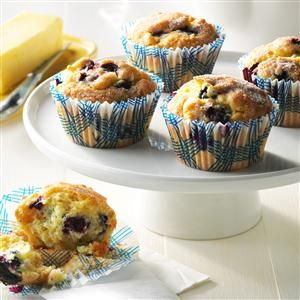 Aunt Betty's Blueberry Muffins Recipe -My Aunt Betty bakes many times each Christmas, but I look forward to these mouthwatering muffins the most. She gives me enough so that I can freeze and enjoy them for weeks.