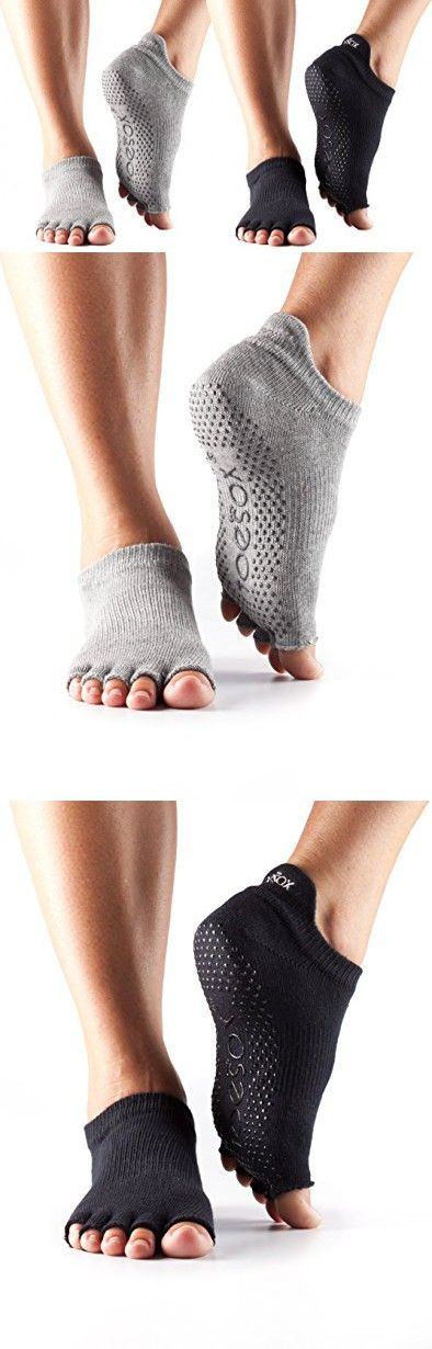 ToeSox Half Toe Low Rise Grip Yoga Pilates Socks 2 Pack (Black/Heather Grey, Small)