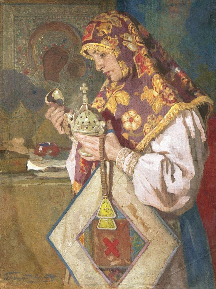 Russian costume in painting. Ivan S. Goryushkin-Sorokopudov. The Old Believer. 1900. #art