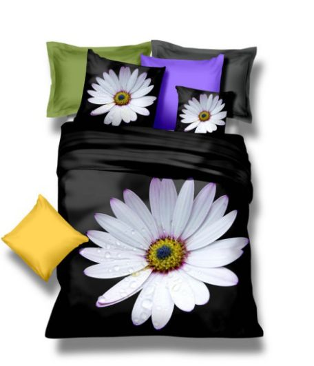 Čierne obliečky na posteľ z mikrovlákna so sedmokráskou