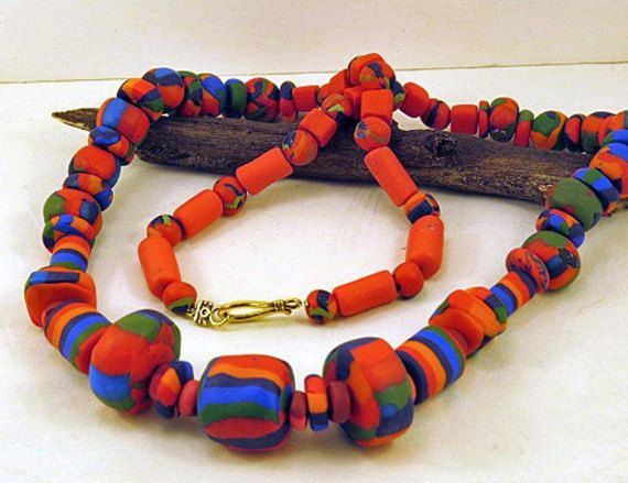 Necklace. Hot Red chunky hand made beads.