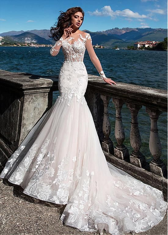 Fascinating Tulle Bateau Neckline See-through Bodice Mermaid Wedding Dress With …
