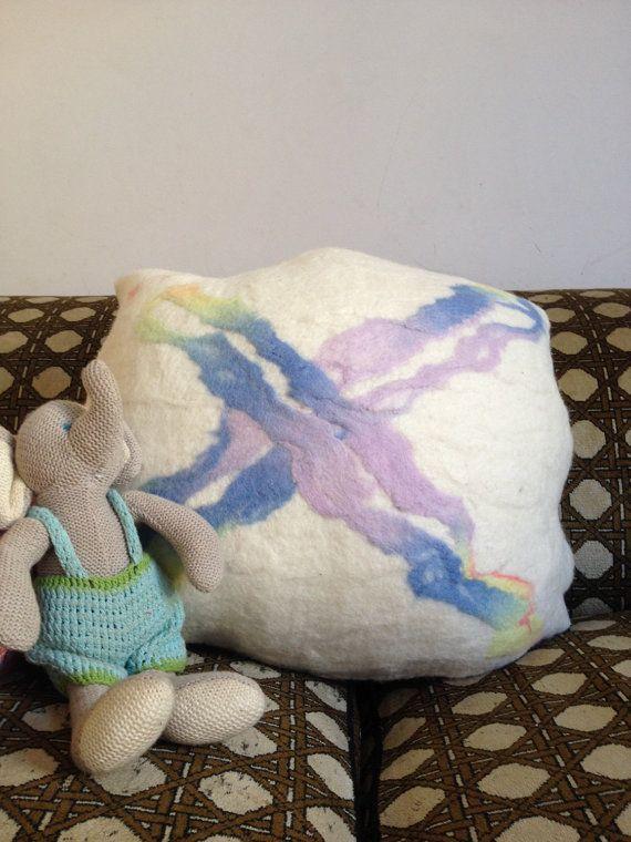 Felted cushion  organic form  Cross  rainbow hand by radishandruth