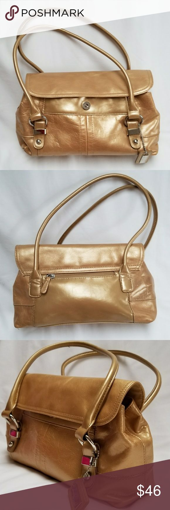 Loaura Loansdal gold bag Golden opportunity to on this and usual bag by this famous person.  One outside zipper pocket.  Snap closure with overfold, 2 zippered  pockets inside,  2 slight-in pockets  Great condition. Loaura Loansdale Bags Satchels