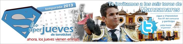 Sorteamos un pack con una entrada para la corrida del viernes en Sevilla y la encerrona de Manzanares en Sevilla entre los que sigáis a Toroticket.com en Twitter (www.twitter.com/toroticket ) y hagáis RT. ¡Participa y acude gratis a ver a Manzanares con seis toros en La Maestranza!