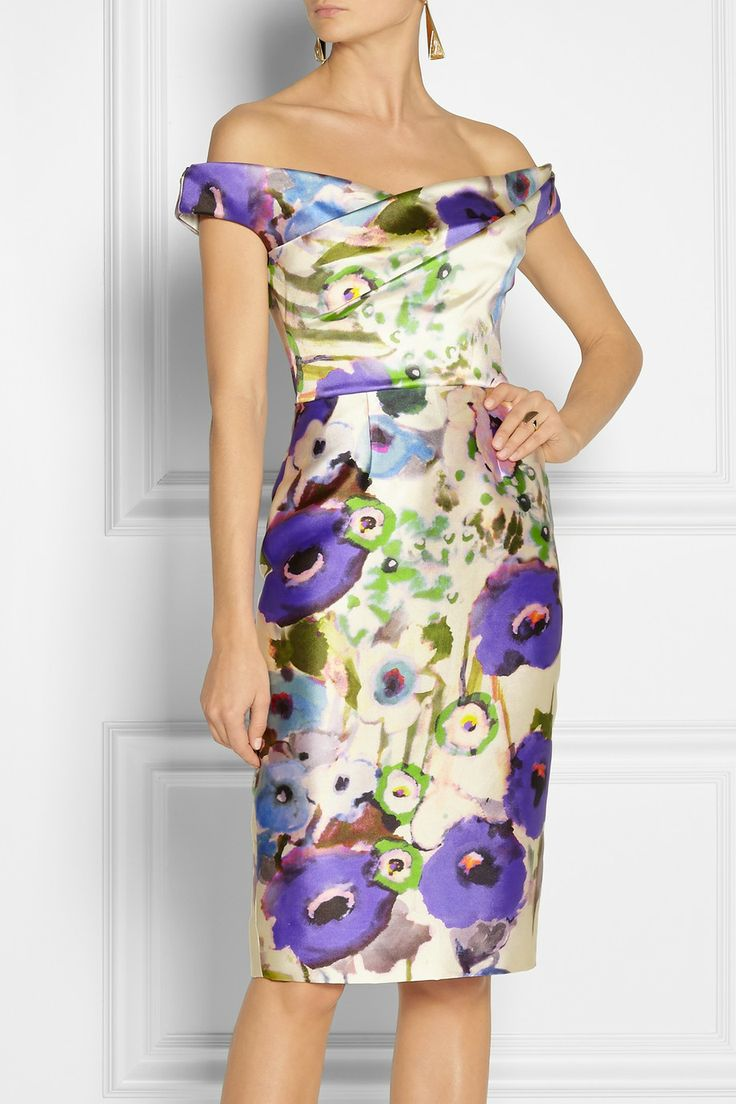 Lela Rose Floral-print satin dress