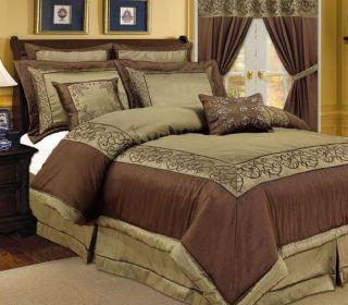 PC Vana Sage Green Chocolate Brown Comforter Bedding Set Queen King