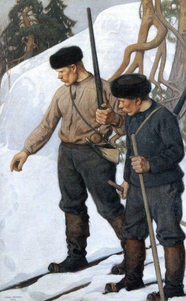"""""""Ilveksen Jäljillä"""" (1903) by Pekka Halonen (Finish 1865 – 1933)"""
