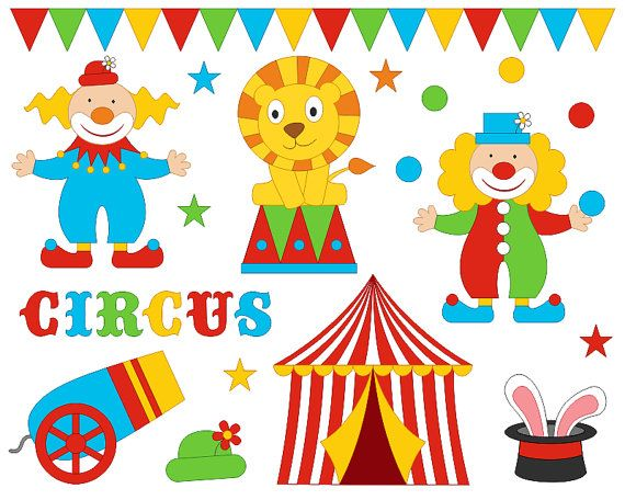 Funny Bright Circus Clip Art Set Clowns Clipart por YarkoDesign
