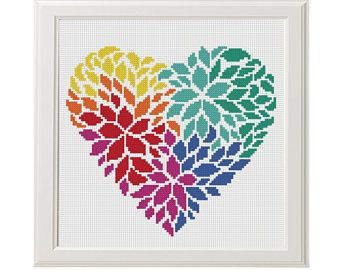 Flower Heart Cross Stitch Pattern Valentine's day Cross
