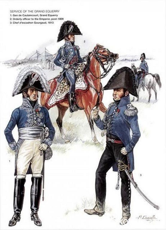 1-Général Armand Augustin Louis, marquis de Caulaincourt, duc de Vicence, Grand Écuyer.  2-Officier de Service de l'Empereur, post 1809.  3-Chef d'Escadron Gourgaud 1813.