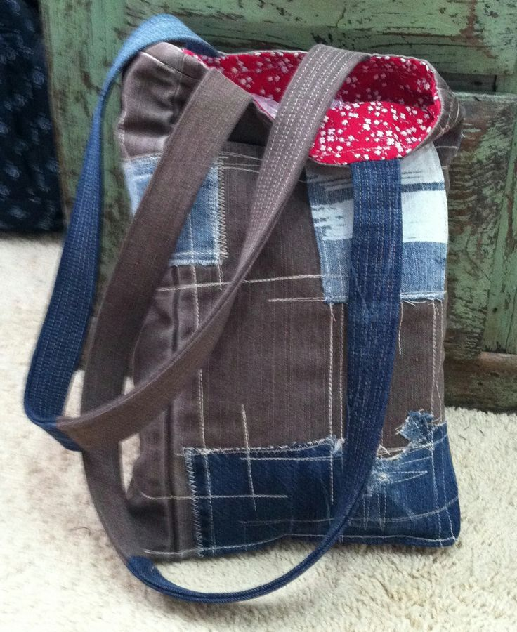 Tasche, Patchwork, Jeans, Upcycling