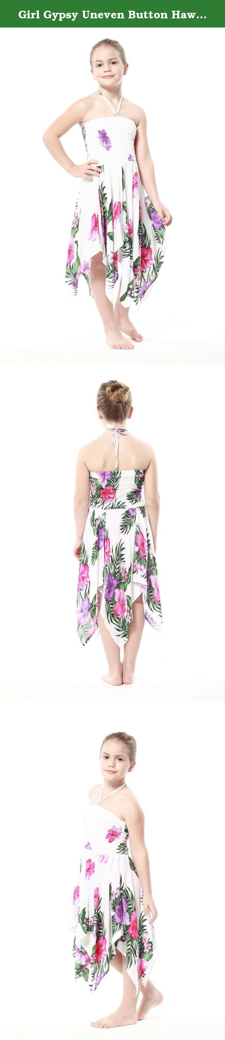 Girl Gypsy Uneven Button Hawaiian Luau Dress in White with Pink and Purple Floral 4. A beautiful Hawaiian print that is perfect for vacation, cruise, luau or Hawaiian themed party or wedding celebration.