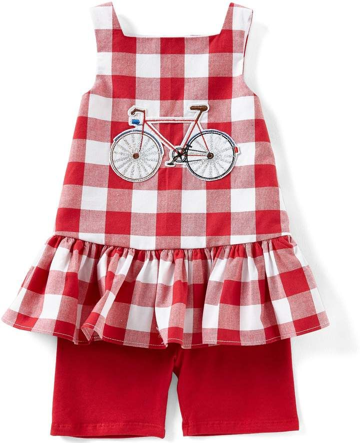 587d8b66a7f Pastourelle by Pippa   Julie Baby Girls 12-24 Months Gingham Bicycle  Applique Tank   Knit Shorts Set  tank Gingham necklineSleevelessBicycle