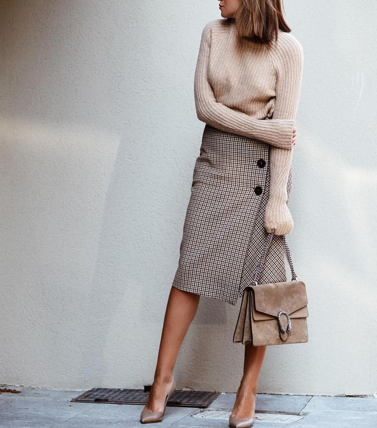 Tweed Pencil Skirt + Soft Knitwear