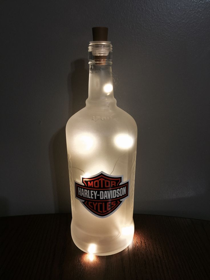 Harley Davidson Bottle Light! Frosted Cruzan Coconut Rum Bottle, Warm White Fairy Light Cork (Battery Operated), Harley Davidson Sticker Decal.