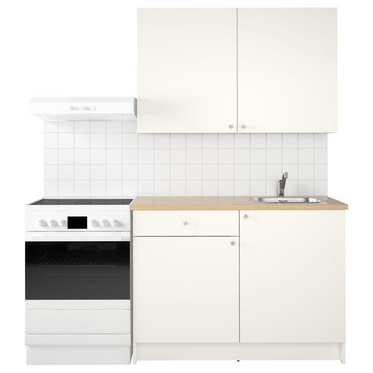 IKEA - KNOXHULT, Cocina, Una cocina completa que incluye encimera, baldas, cajones, fregadero, grifo y sifón.Las patas se pueden regular para corregir posibles desniveles en el suelo.La estructura y los frentes están recubiertos de melamina, un material que no se raya y es fácil de limpiar.Como las bisagras se pueden regular en altura, anchura y profundidad, te resultará sencillo montar la puerta en la posición exacta.La puerta se puede montar a la izquierda o a la derecha.Cajón de fácil…