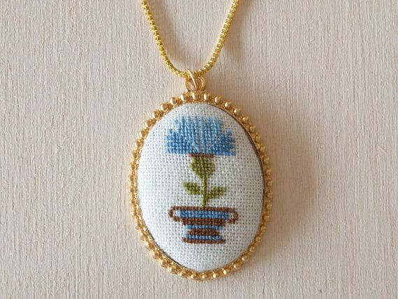 Cross stitch pendant - Thistle Flower, Blue with Gold Setting - 46x35mm (1.8x1.4inch) Oval