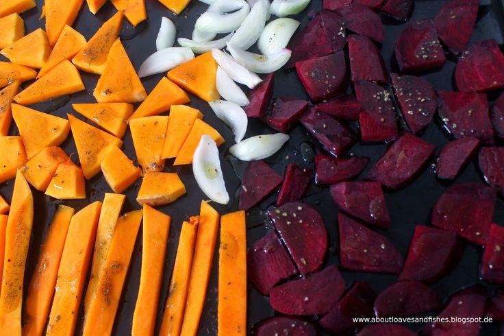 Herbstliches Ofengemüse mit Rote Bete und Kürbis  #pumpkin #beetroot
