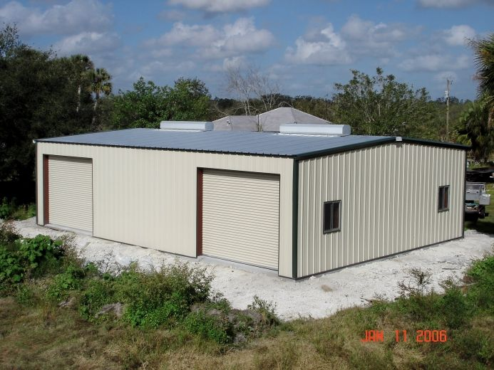 Metal storage building roll up doors slide windows pre for 24x40 garage kit