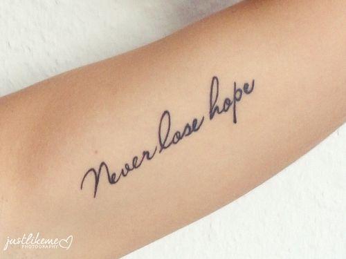 Nunca perca esperança.