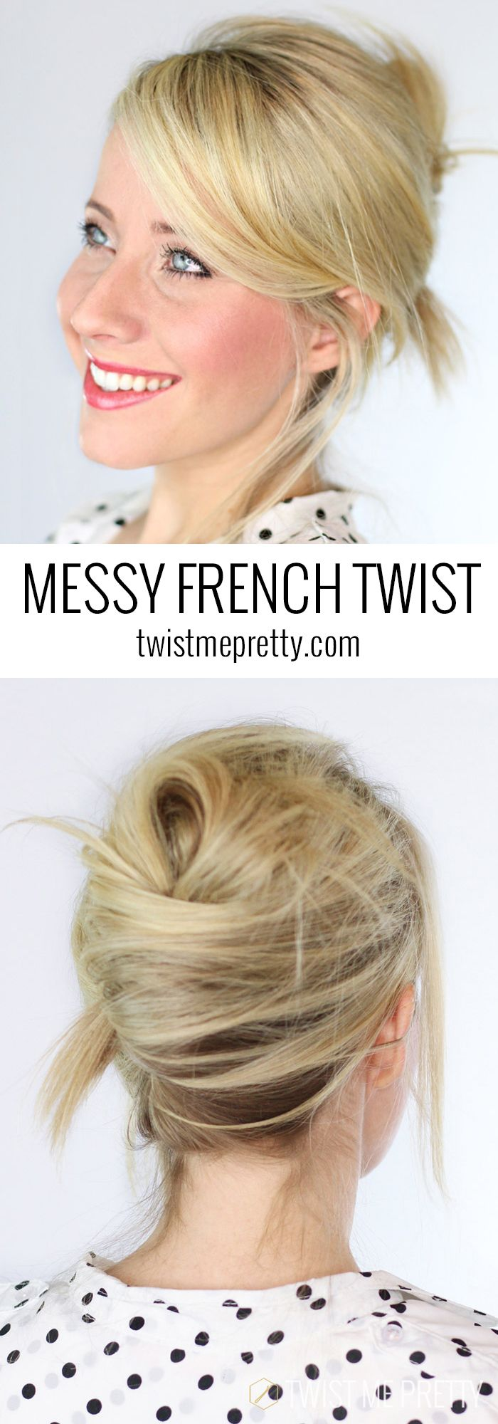Ahhh!  I love this messy french twist!  30 second style for those late mornings.  Tutorial at Twist Me Pretty