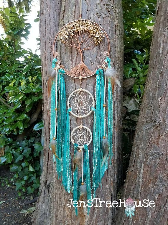 Tree of Life Dream Catcher/Wall Hanging/Green/Copper/Picture