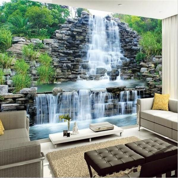 3D custom nature landscape wallpaper. Flowing waterfall