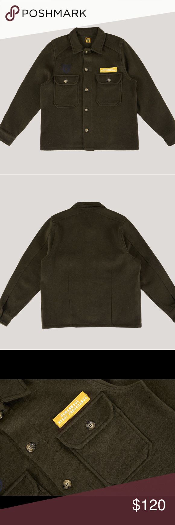 Human made Wool Military style Shirt Embroidered patch, printed logo Button down patch pockets  Wide, button down placket  75 % Wool 15% Polyester 5% Nylon 5% Acrylic Button Down Fastenings Classic Collar Neckline Made in china human made Shirts Casual Button Down Shirts