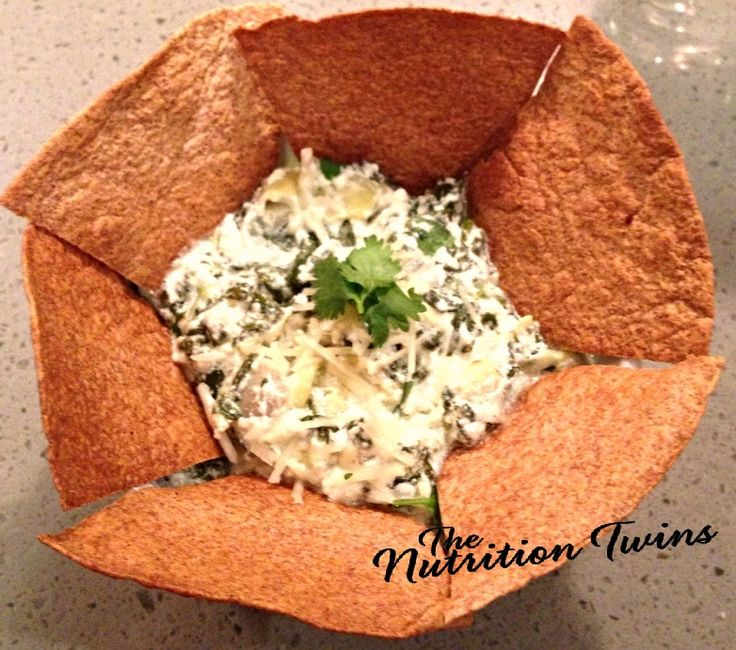 Creamy Spinach & Artichoke Dip | Scrumptious & ONLY 129 Calories Per 1 ENTIRE CUP! | Whopping 16 grams protein to boot | Delish with these home-made pita chips | For MORE RECIPES like this, SIGN UP for OUR NEWSLETTER on NutritionTwins.com